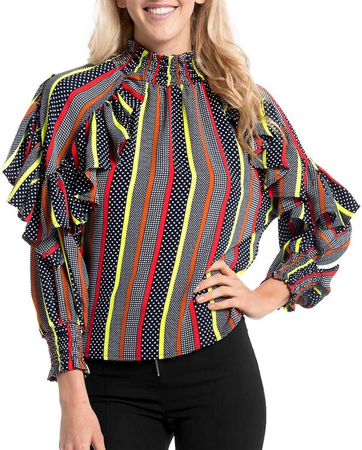 Gracia Stripe High Neck Top