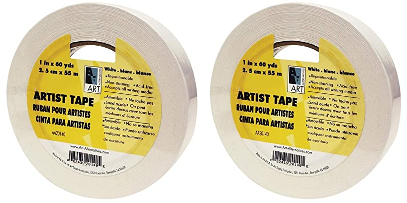Art Alternatives Economy White Artists Tape - 1 inch X 60 Yards (2 Pack)