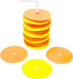 """Crown Sporting Goods 6"""" Non-Skid Floor Spot Markers: Set of 50 Agility Training Flat Field Cones in Fluorescent Yellow & O..."""