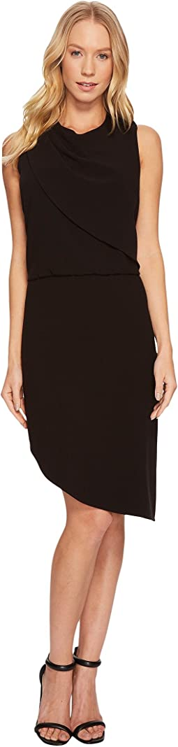 Halston Heritage - Sleeveless Round Neck Drape Front Dress