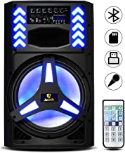 AKUSTIK 2-Way 15 Inch 1200W Powered PA Speaker with LED Light Effects,Front LCD for Easily Operate, Remote Control, Built-in Bluetooth/USB/SD/FM Radio/XLR/RCA/AUX, Portable DJ Loudspeaker