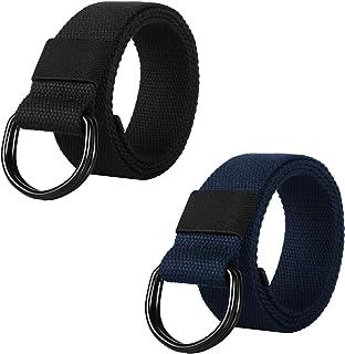 ITIEZY Cinturón de Lona Hombre, 2 Paquetes Cinturones Militar Ajustable Todo-Fósforo con Hebilla de Anillo en D Negro para...