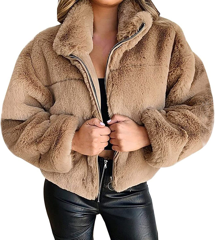Thermal Faux Fur Cardigan for Women Lapel Long Sleeve Fleece Jacket Casual Zipper Shearling Shaggy Coat