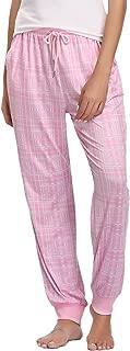 Hawiton Women's Stretch Milk Silk Sleep Lounge Bottoms Plaid Ribbed Drawstring PJ Pants