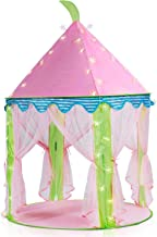 Sonyabecca Princess Castle Tent Ligth Up Tent for Girls Pop up Tent Pink with 16ft Snowflake LED Light