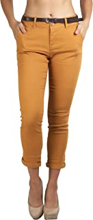 ToBeInStyle Women's Belted Bengaline Ankle Length Pants