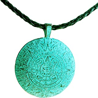 Kette Anhänger Maya Inka Lederkette Holz Naturschmuck Türkis UNISEX Halskette