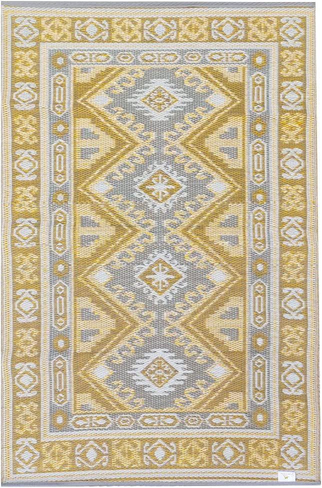 Green Decore KAZAK Plastic Stain Proof Reversible Fade Resistant Premium Patio Outdoor Rug  Perfect for Garden, Patio, Picnic, Decking   Stain and Water Resistant   (4'x6', Yellow/Grey)