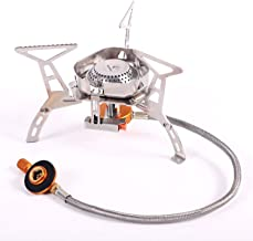 REDCAMP Windproof Portable Backpacking Stove with Piezo Ignition,3500W/4600W Strong Firepower Lightweight Outdoor Camping Stove Propane Butane
