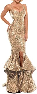 Women's Sexy Sequin Evening Dresses for Party Mermaid Split Side Long Prom Gown