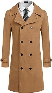 JINIDU Men Trench Coat Wool Blend Double Breasted Winter Classic Long Pea Coat