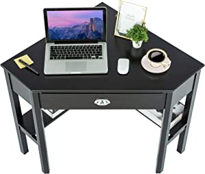 Corner Desk Corner Table - ZENODDLY Corner Computer Desk for Home Office Desks, Black Corner Desk with Drawers Storage Shelves Fits 90 Degree Corner, Versatile Corner Desk for Small Space Furniture
