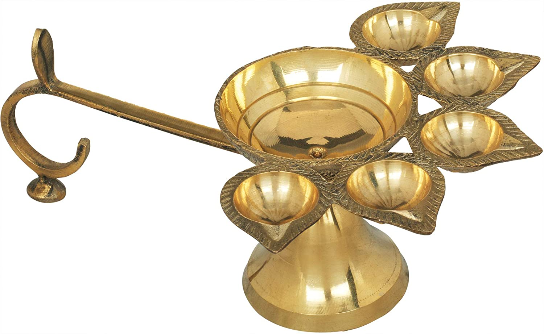 Exotic India Five Wicks - Brass Statue 売り出し Arti [再販ご予約限定送料無料]