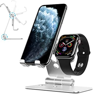 Cell Phone Stand for Apple Watch - OMOTON 2 in 1 Aluminum Foldable Charging Dock Stand for Apple Watch 5/4/3/2/1 and iPhone 11/11 Pro/11 Pro Max/XR/Xs/Xs Max (Silver)
