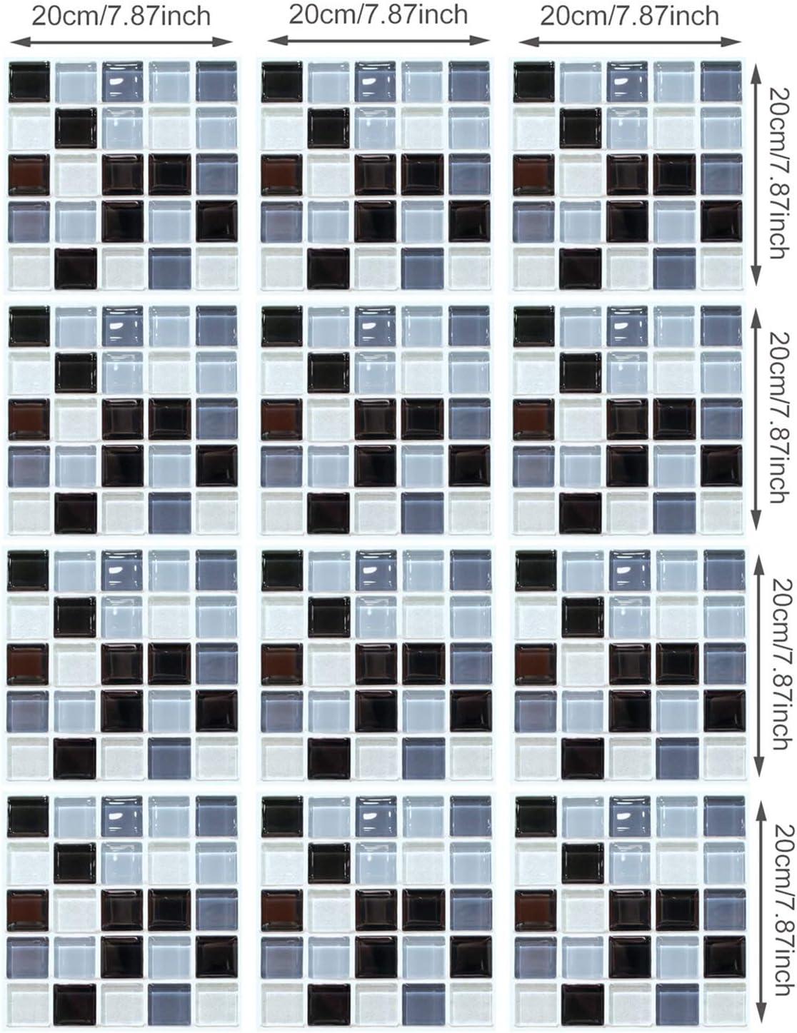 Z IMEI 12 Piezas 3D Mosaico Pegatina De Azulejos Impermeable Autoadhesivo Pegatina Decorativo Azulejos Stickers Azulejos Cuarto De Ba/ño Cocina-a 20x20cm 7.9x7.9in