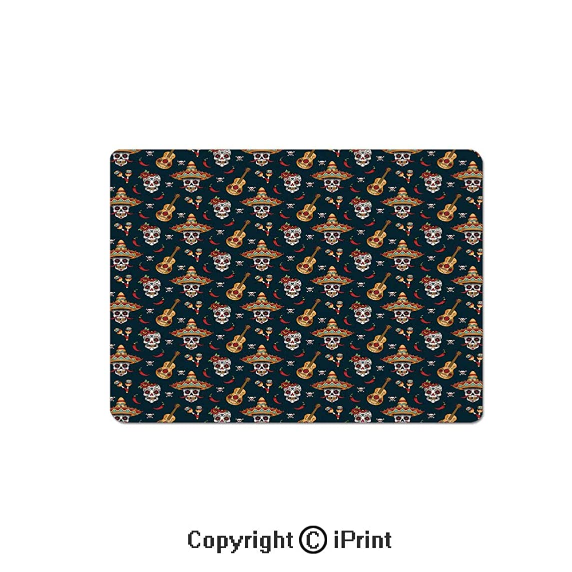 Thick 3mm Gaming Mouse Pad Detailed Artistic Floral Sugar Skulls with Sombrero Hats Chili Peppers and Guitars Personality Design Non Slip Rubber Mouse Mat,7.1x8.7 inch,Multicolor