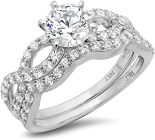 Clara Pucci 1.7 Ct Round Cut Pave Halo Engagement Promise Wedding Bridal Anniversary Ring Band Set 14K White Gold
