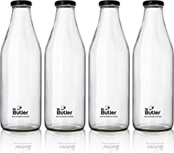 Mr. Butler Water, Milk, Juice Glass Bottle 1000ml – 4 Pack, with Extra caps