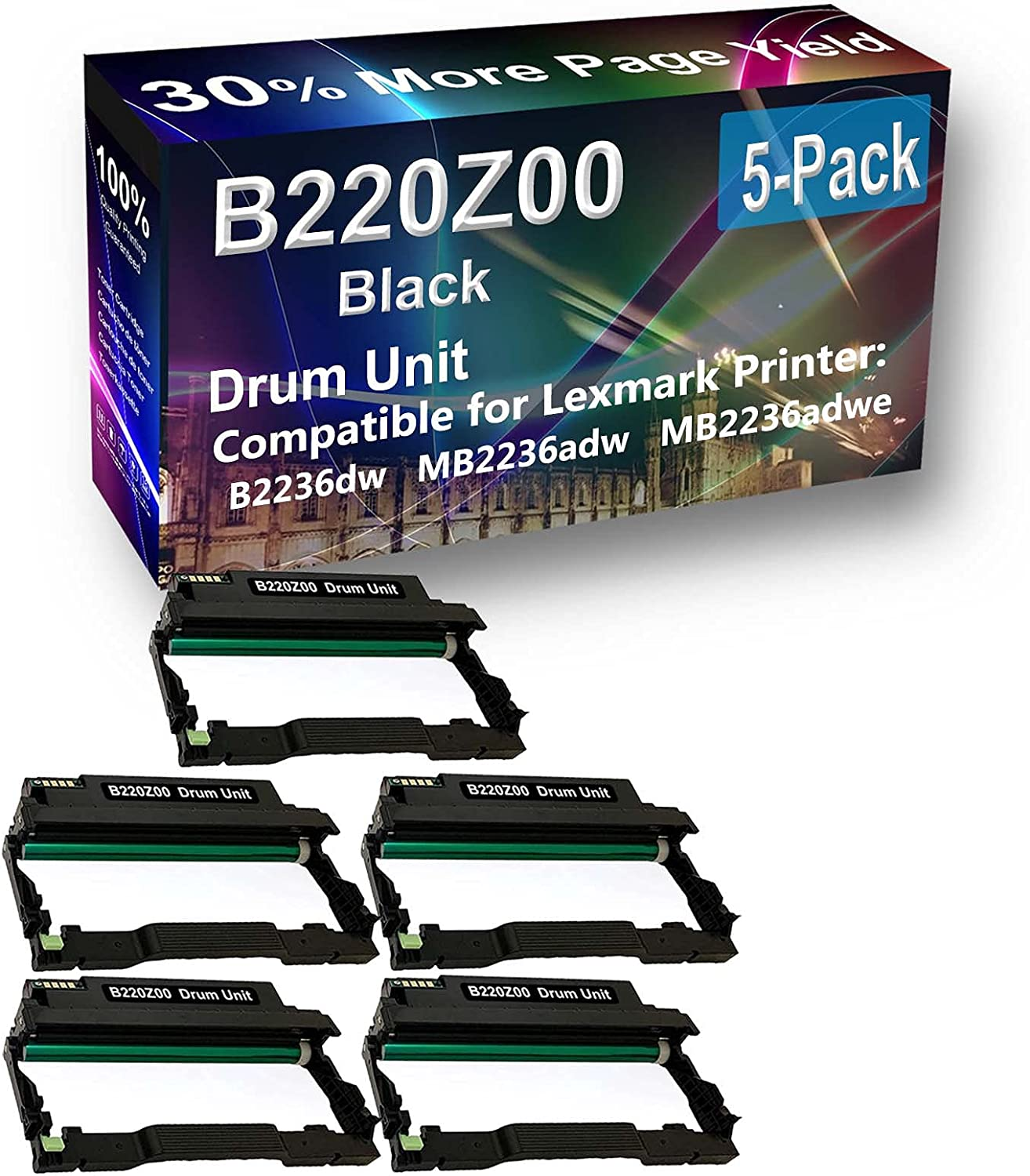 5-Pack Compatible Drum Unit (Black) Replacement for Lexmark E250X22G Drum Kit use for Lexmark E352 E352DN, E450, 450N, 450DN Printer