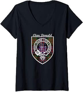 Womens  Macdonald, Mcdonald or Donald Clan Scottish tartan  V-Neck T-Shirt