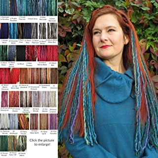 Yarn Dread Falls Clip-in Dreadlocks Set of 2 dreads clips MANY COLORS 40-48 single locs 22.5 or 38 inches long Lightweight dreads hair extensions