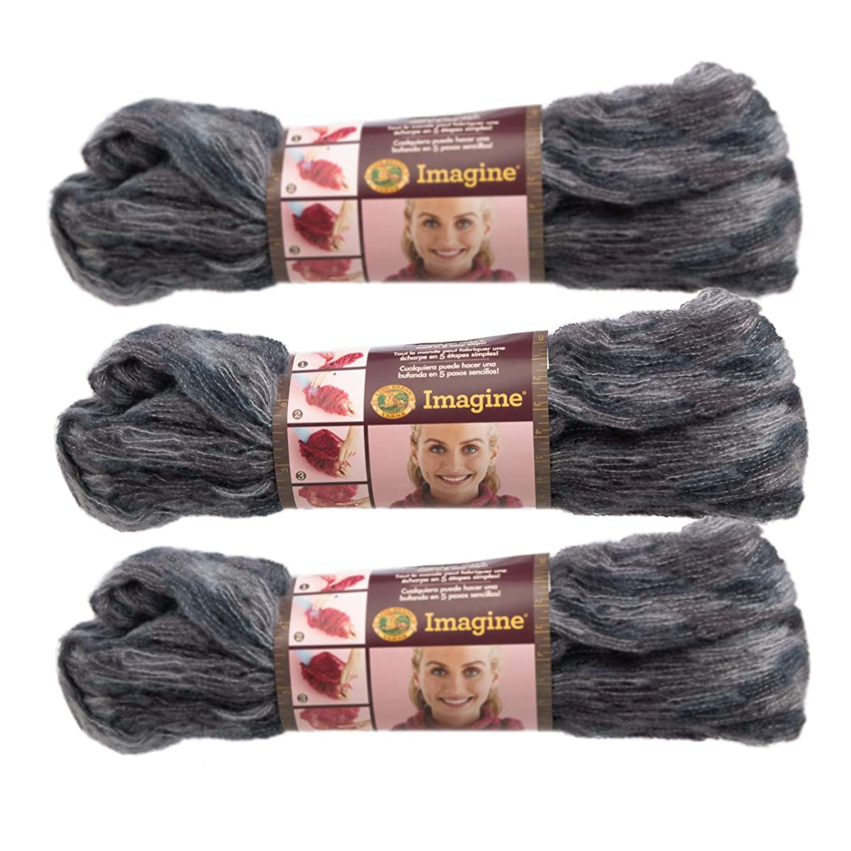 Lion Brand (3 Pack) Imagine Acrylic Blend Soft Black Ice Yarn for Knitting Crocheting Super Bulky #6