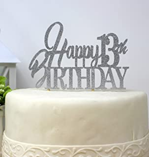 All About Details Happy 13Th Birthday Cake Topper (Silver)