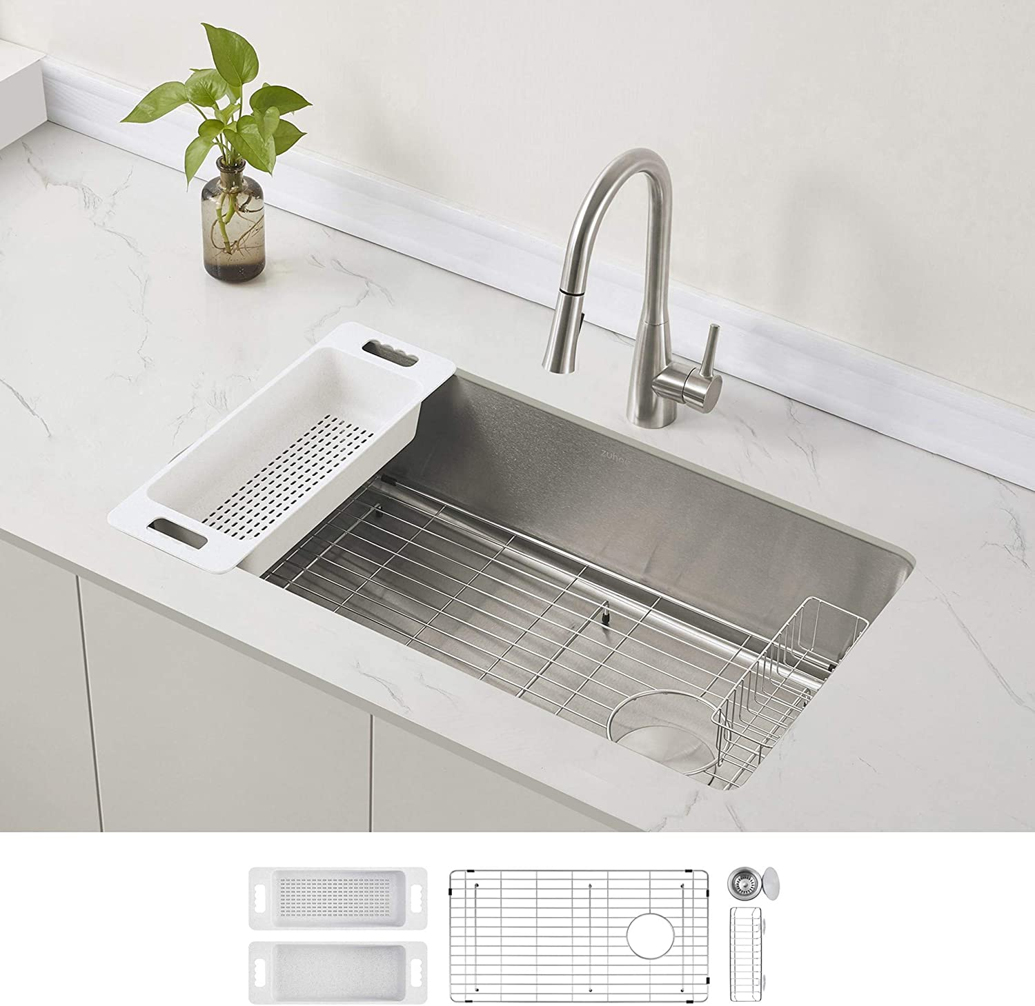 ZUHNE Stainless Steel Single Bowl In stock Max 83% OFF Sink Offset Drain Kitchen with
