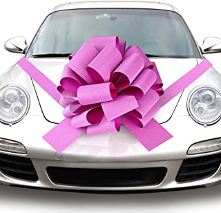 Quacoww Pink Giant Car Bow Car Pull Bow for Weeding Car Decoration, Christmas Decoration