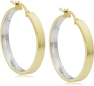 KoolJewelry 14k Two-tone Yellow Gold Outside White Gold Inside Diamond-cut Hoop Earrings (26x31 mm)