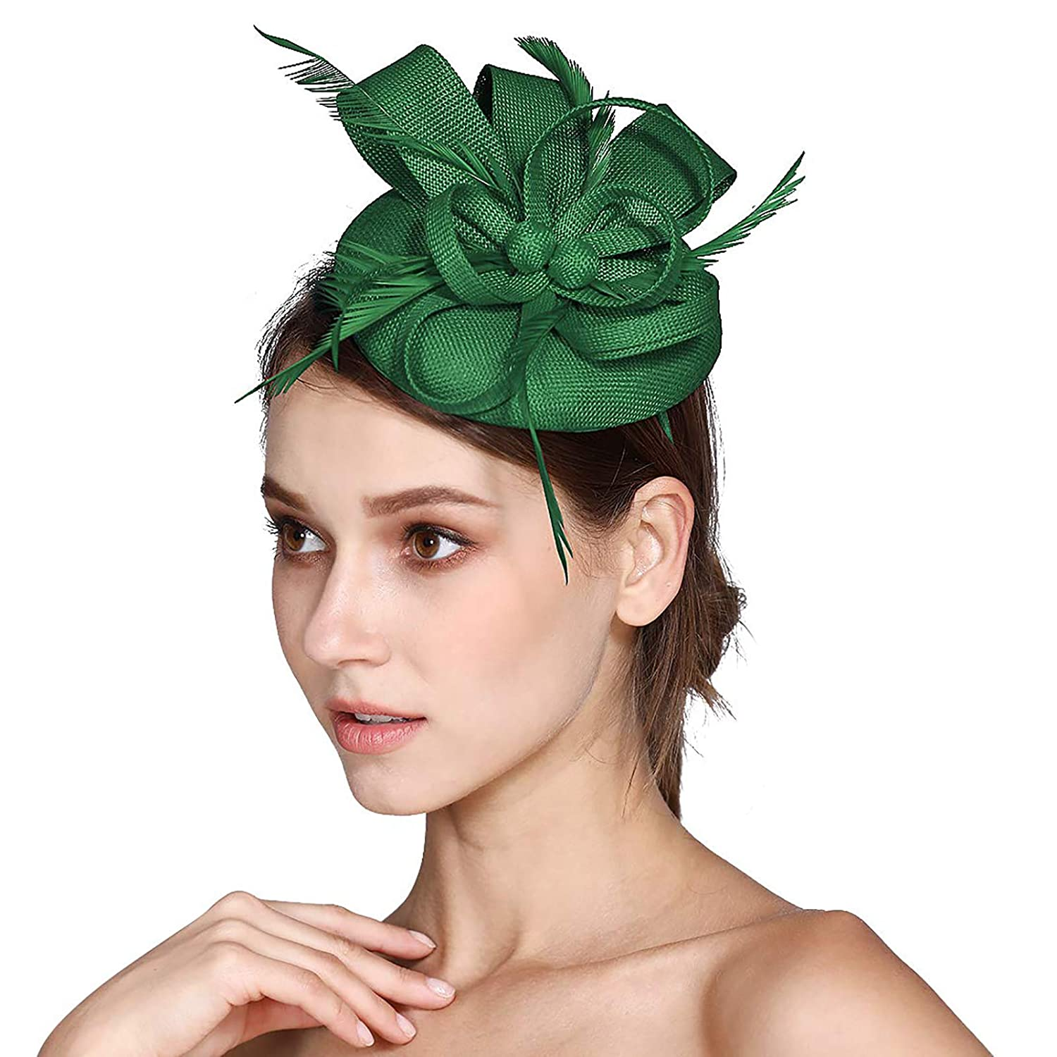 HOLDOOR Fascinator Sinamay Feather Fascinators Hat for Women Pillbox Hat Tea Party Kentucky Derby Cocktail Royal Banquet Hats Hair Clip