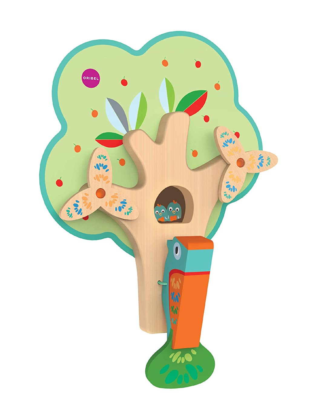 ORIBEL VertiPlay (Wall Toy) Busy Woodpecker, Wooden Toy and Nursery Room Decor | Easy to Install, Just Stick & Play?