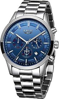 Watches Men Stainless Steel Sport Analog Quartz Watch Men Luxury Brand LIGE Waterproof Date Business Dress Wristwatch Man ...