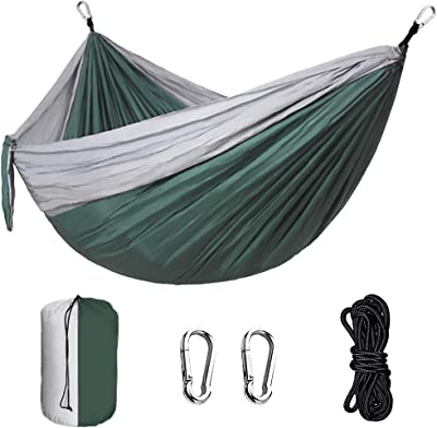 Synra Camping Hammock, Durable Parachute Material Hanging Bed for Outdoor Activities, Portable Travel Gear Ideal for Resting, Stargazing, Sunbathing, 1 Pc per Pack