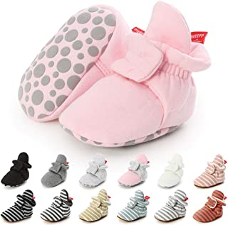 Baby Boys Girls Fleece Booties Infant Cotton Socks Newborn Soft Sole Winter Warm Stay On Slippers Non-Skid Cozy Crib Shoes