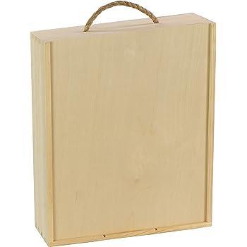 Caja de madera para 3 botellas de vino de Laublust, aprox. 35 x 30 x 11 cm, natural, FSC® – Caja de vino con gran tapa deslizante: Amazon.es: Hogar