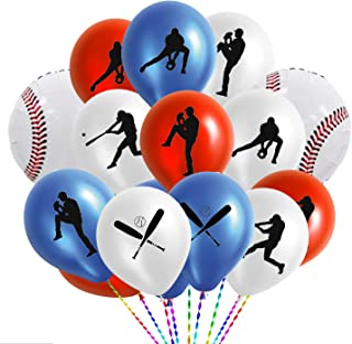 50PCS Baseball Party Latex Balloons and Foil Balloons - Sports Game/Graduation/Baseball Birthday Party Decorations Supplie...