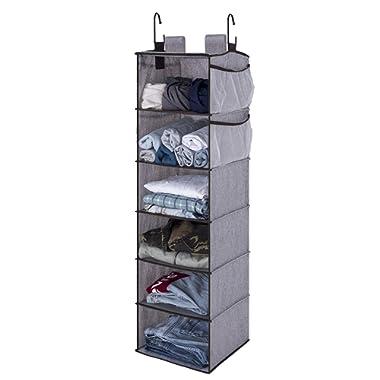 "StorageWorks 6-Shelf Hanging Closet Organizer, Hanging Shelves for Closet, Fabric, Gray, 12""W x 12""D x 42""H"