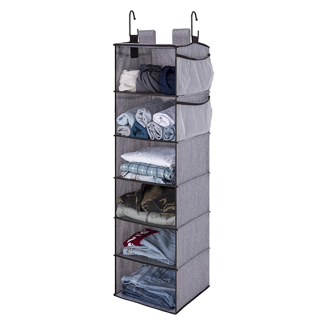 StorageWorks Hanging Closet Organizer, 6 Shelf Closet Organizer, 2 Ways Dorm Closet Organizers and Storage, Sweater Organizer for Closet, Gray, 12x12x42 inches