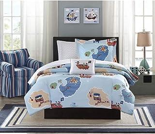 6 Piece Boys Blue Green Brown Pirate Theme Comforter Twin Set, Fun All Over  Island