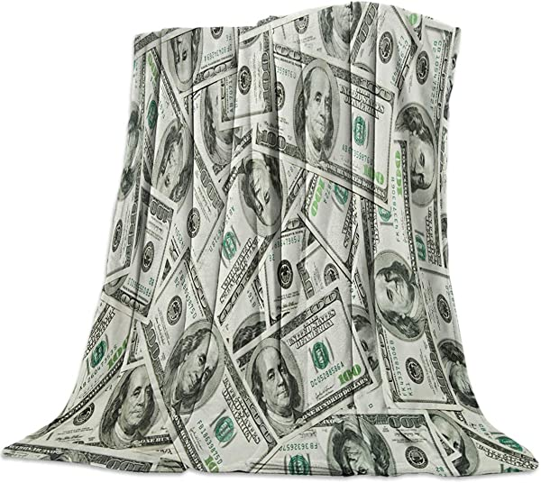 Advancey 100 Dollar Bill Money Pattern Flannel Fleece Throw Blanket Lightweight Cozy Bed Sofa Blankets Super Soft Fabric 39x49 Inch