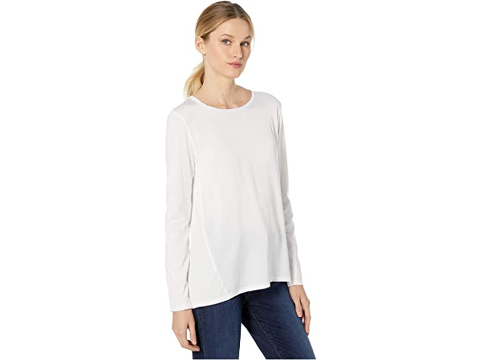 Michael Kors Woven Combo Long Sleeve Top White Shirts & Tops