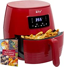 Deco Chef Digital Electric Air Fryer with Accessories and Cookbook- Air Frying, Roasting, Baking, Crisping, and Reheating for Healthier and Faster Cooking (Red)