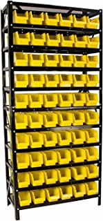Erie Tools TLPB60 60 Parts Bin Shelving Organize with Plastic Bins for Garage, Shop, and Home Storage