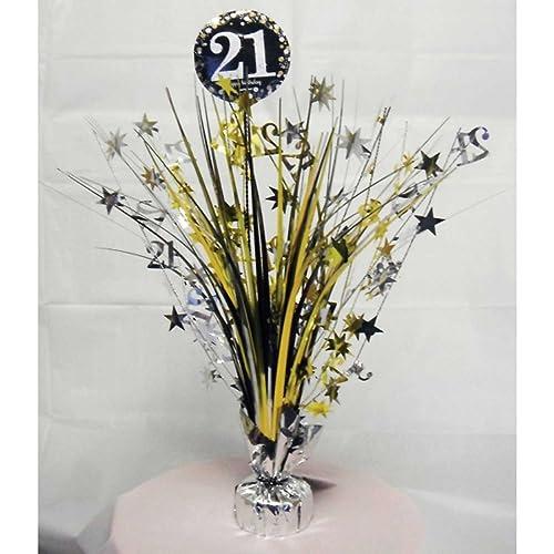 21st Birthday Spray Centrepiece Table Decoration Black Silver Gold