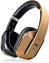 August EP650 Bluetooth Over Ear Wireless Stereo NFC 3.5mm Headphones with Rechargeable Battery, Multipoint and Built-in Microphone for Mobile Phones, iPhone, iPad, Laptops, Tablets, Smartphones - Gold