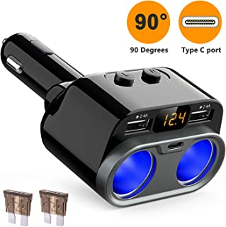HiGoing Cigarette Lighter Adapter, 80W 2 Sockets Splitter Multi Power Outlet Type C 4.8A Dual USB Car Charger with Voltage Display, Built-in Replaceable 10A Fuse Compatible Mobile Phone GPS Dash Cam