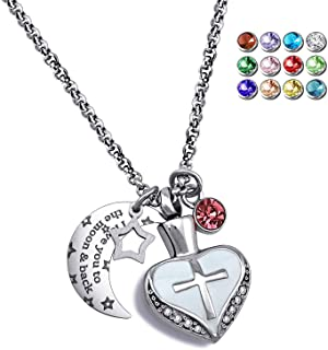 YOUFENG Urn Necklaces for Ashes I Love You to The Moon and Back Cross Necklace Birthstone CZ Keepsake Pendant