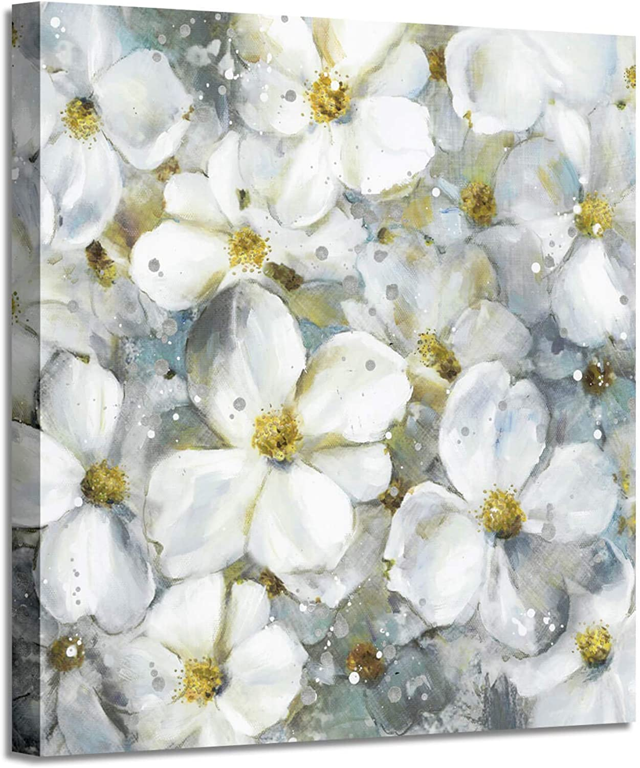 Flower Abstract Art Floral Picture  White Botanical Artwork Painting on Canvas Wall Art for Office (36 x 36 x1 Panel)