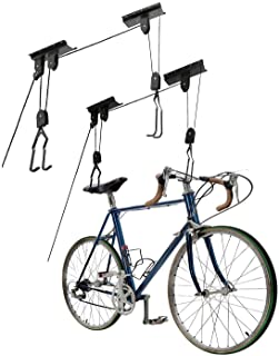 Great Working Tools Bike Hoists Set of 2, Hanging Ladder Lifts - Garage Ceiling Mount 55 lb Capacity Heavy Duty Hooks and ...
